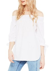 Miss Selfridge Smocked Off The Shoulder Top White