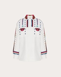 Valentino Embroidered Gabardine Pea Coat White 100 Cotone
