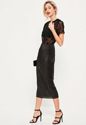 Missguided Black Glitter Crinkle Midi Skirt