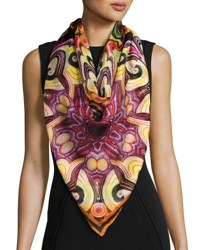 Givenchy Abstract Silk Satin Square Scarf Multipattern Multi Pattern