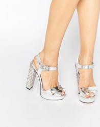Little Mistress Darcy Silver Diamante Heeled Sandals Silver