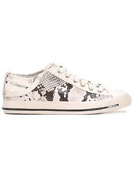 Diesel Snakeskin Print Sneakers Women Cotton Leather Suede Rubber 38 Nude Neutrals