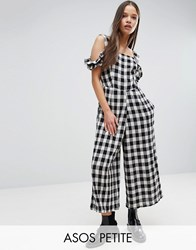 Asos Petite Jumpsuit In Gingham With Cold Shoulder Detail Multi