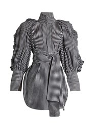 Ellery Angelface High Neck Ruffle Trimmed Gingham Top Black White