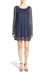 Junior Women's Socialite Long Sleeve Lace Swing Dress Dark Blue