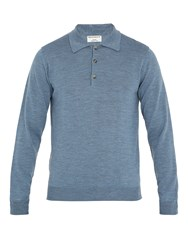 Editions M.R Long Sleeved Wool Polo Shirt Blue