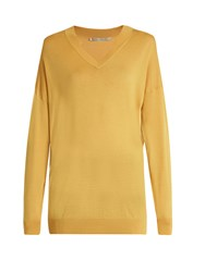Stella Mccartney V Neck Oversized Wool And Silk Blend Sweater Yellow