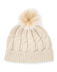 Bergdorf Goodman Cable Knit Cashmere Fur Pom Beanie Hat Oatmeal