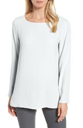 Eileen Fisher Women's Silk Bateau Neck Top Rain
