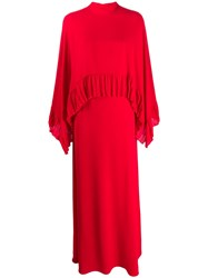 Valentino Pleated Trim Two Tier Dress Red
