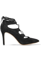 Loeffler Randall Delfine Lace Up Suede Pumps Black