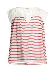 Mes Demoiselles Mathilde Striped Cotton Gauze Blouse Red Stripe
