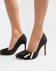 Ted Baker Bow Detail Satin Heeled Court Shoes Black