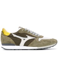 Mizuno Lace Up Trainers Men Cotton Leather Suede Rubber 42.5 Green