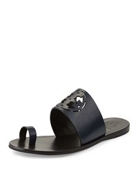 Tory Burch Zoey Leather Logo Toe Ring Sandal Bright Navy Women's