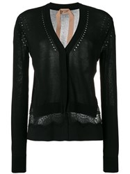N 21 No21 Lace Insert Cardigan Women Silk Polyester Acetate Viscose 40 Black