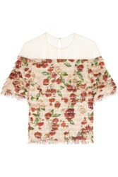 Mother Of Pearl Avery Fringed Printed Silk Voile Top Antique Rose