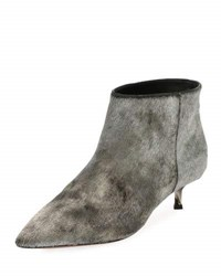 Valentino Twist Heel Low Fur Ankle Boot Silver