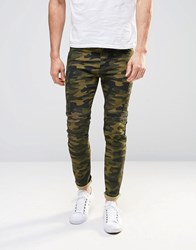 Asos Super Skinny Jeans In Camo Print With Biker Panels Dark Khaki Green
