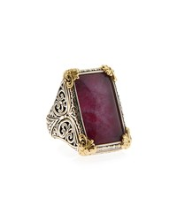 Konstantino Silver And 18K Rectangular Ruby And Quartz Cocktail Ring Women's