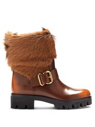 Prada Fur Trimmed Leather Ankle Boots Brown Multi