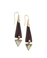 Alexis Bittar Lucite Dangle Earrings With Mother Of Pearl Black Cherry