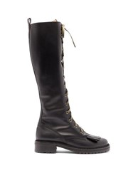 Tabitha Simmons Markie Lace Up Leather Knee High Boots Black