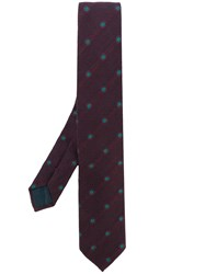 Dell'oglio Dotted Pattern Tie Silk Wool Pink Purple