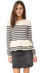 Red Valentino Ruffle Bottom Sweater Ivory Blue