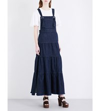 See By Chloe Dungaree Strap Stretch Denim Dress Stoned Indigo