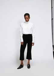 Ms Min 'S Slim Fit Bell Bottom Pant In Black Size Small Wool Polyamide