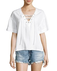 Ag Jeans Kelly Short Sleeve Lace Up Top White