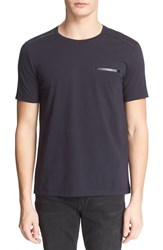 Men's The Kooples Faux Leather Trim Short Sleeve Crewneck