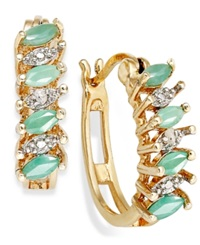 Victoria Townsend 18K Gold Over Sterling Silver Earrings Emerald 3 4 Ct. T.W. And Diamond Accent Marquise Hoop Earrings