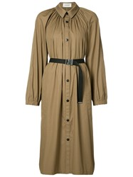 Christophe Lemaire Pleated Coat Women Cotton Polyurethane Resin 36 Brown