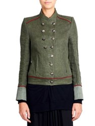 Ann Demeulemeester Collarless Military Jacket Khaki