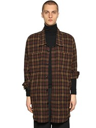 Faith Connexion Oversize Wool Flannel Shirt Brown