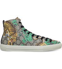 Gucci Major Tiger Print Canvas High Top Trainers Brown Oth