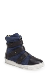 Plomo 'Libby' Leather And Suede High Top Sneaker Blue