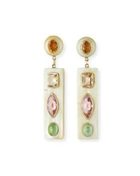 Ashley Pittman Ada Light Horn Drop Earrings W Gems White