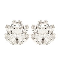Dolce And Gabbana Crystal Embellished Clip On Earrings White