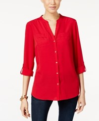 Charter Club Petite Utility Shirt Only At Macy's New Red Amore