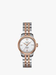 Tissot T41218316 'S Le Locle Automatic Diamond Date Two Tone Bracelet Strap Watch Silver Rose Gold