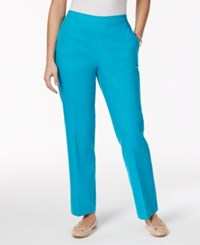 Alfred Dunner Petite Straight Leg Pull On Pants Turquoise