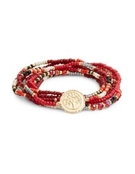 Design Lab Lord And Taylor Beaded Stretch Bracelet Red
