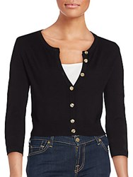 Karl Lagerfeld Lace Inset Cropped Cardigan Black