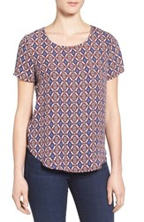 Pleione Women's Pleat Back Woven Print Top White Rust
