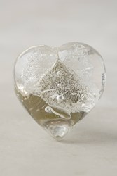 Anthropologie Glass Heart Knob Silver