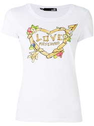 Love Moschino Printed T Shirt Women Cotton Spandex Elastane 38 White