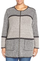 Nic Zoe 'Herringbone Mix' Reversible Sweater Jacket Plus Size Brown
